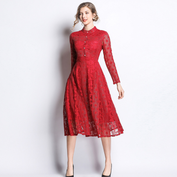 2020 Autumn Blue Red Lace Dress Women Long Sleeve Floral Pearl Elegant Dress High Quality Party Dresses Robe Femme AQ972