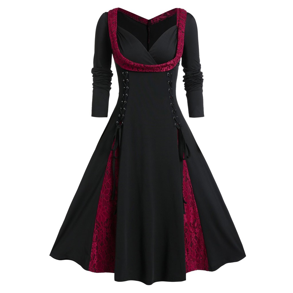 Womens Lolita Dress Skull Print Vintage Gothic Punk Style Strap Slim Fit Big Swing Hepburn Dress Cosplay Costumes