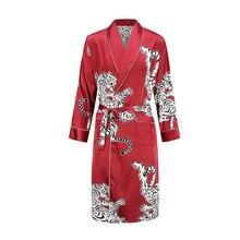 Атласная Ночная рубашка мужской летний тонкий купальный халат Тигр Ночная рубашка свободный Свадебный халат шелковистый длинный рукав Sleeprobe размера плюс домашняя одежда
