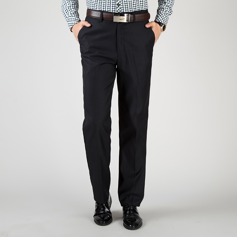 Spring And Autumn Middle-aged Men Casual Straight-Cut Middle-aged Suit Pants High-waisted Loose Straight Men's Trousers Daddy Cl