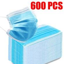 10/50/100/200/500/600 шт. одноразовые маски синий маски Non-ткали 3 Слои против пыли для взрослых дышащие ушной mascarillas маска
