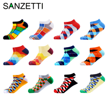 SANZETTI 6 12 Pairs/Lot Mens Ankle Socks Casual Novelty Colorful Summer Happy Combed Cotton Short Socks Plaid Dress Boat Socks