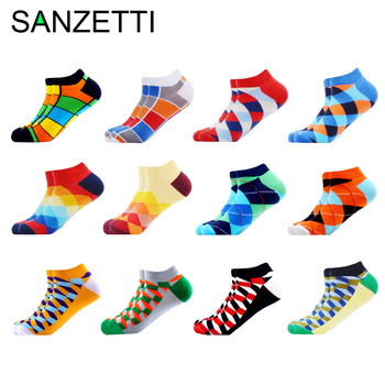 SANZETTI 6-12 Pairs/Lot Men's Ankle Socks Casual Novelty Colorful Summer Happy Combed Cotton Short Socks Plaid Dress Boat Socks