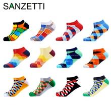 SANZETTI calcetines de tobillo para hombre, calcetín informal, de algodón peinado, a cuadros, para barco, de colores, 6 12 par/lote