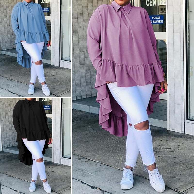 Celmia Spring Winter Women Ruffled Hem Lapel Collar Long Sleeve Blouse Casual Soild  Back Buttons Loose Top Shirt  Blusas 5XL