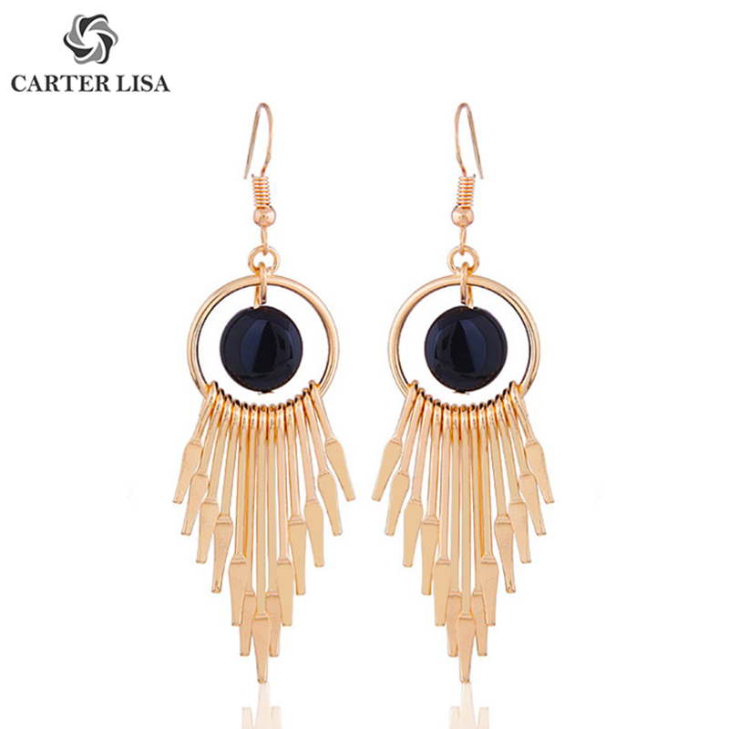 CARTER LISA Exquisite Bohemian Round Metal Fringe Drop Dangle Earings For Women Girl Fashion Jewelry Party Christmas Gifts