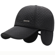 HT2623 Men Cap Autumn Wnter Thick Warm Dad Male 6 Panels Baseball Hats with Earflap Adjustable Ear Flap