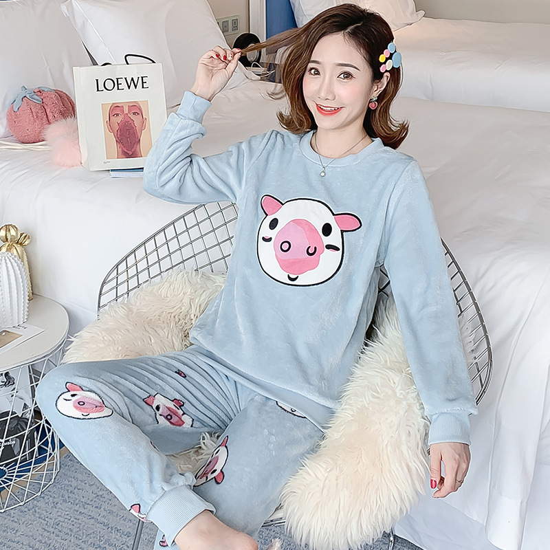 Autumn Winter Flannel Cartoon Cute Pajamas Long Sleeve Pyjamas Women Pijama Mujer Loungewear Home Clothes Sleep Set Nightwear 35