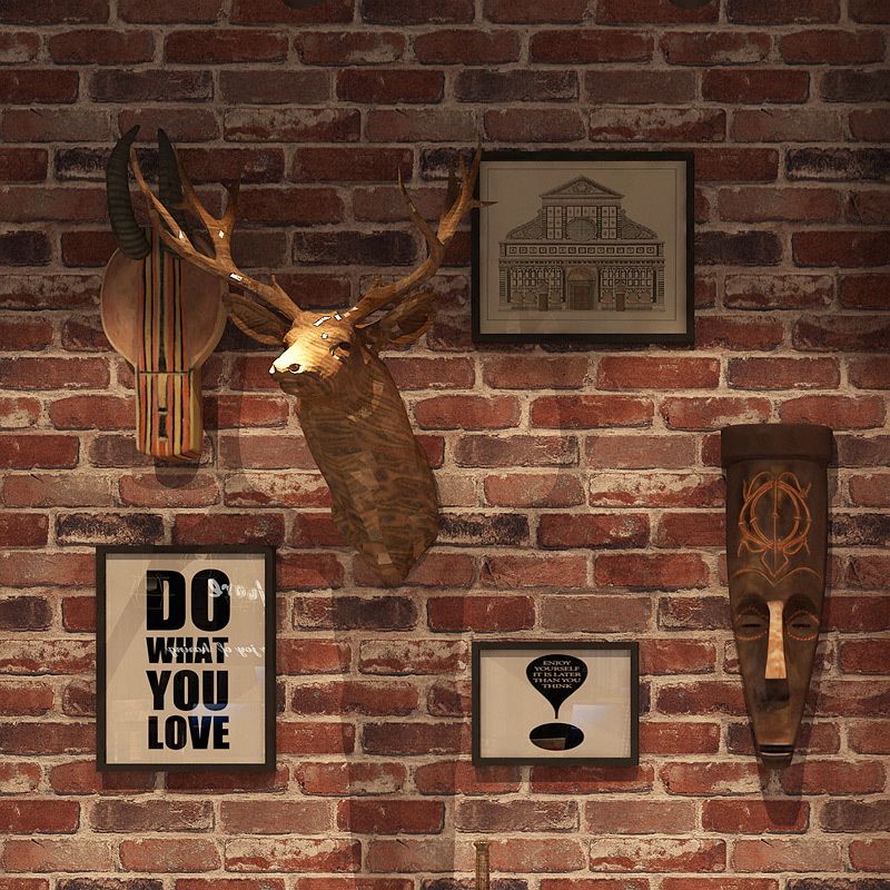 Retro Cool Hair Salon Brick Pattern Brick Wallpaper Chinese Style 3D Restaurant Hair Dressing Hairdressing Clothing Store Wallpa