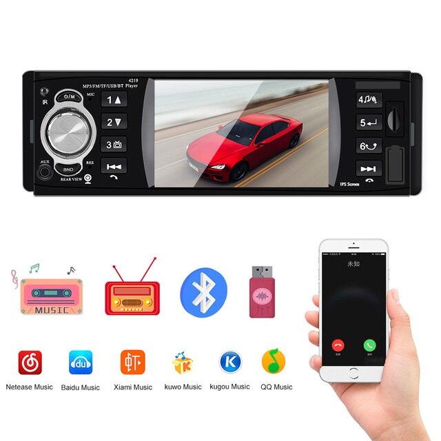 1 din 4.1 Polegada rádio do carro tf usb carregamento rápido peças de automóvel bluetooth 4.2 iso remoto multicolorido iluminação áudio vídeo mp5 player