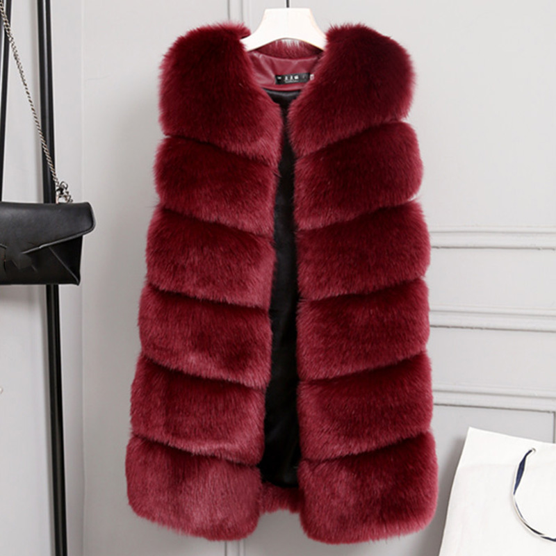 Solid Sleeveless Faux Fur Women's Thicken Vest Coat Plus Size 3XL Warm Female Winter Tops O Neck Elegant Fashion Ladies Coats