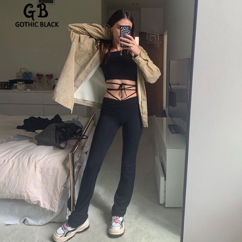 Gothblack High Waist Lace Up Cross Ruched Skinny Pants 2020 Summer Women Fashion Elastic Slim Trousers Female Streetwear Outfit