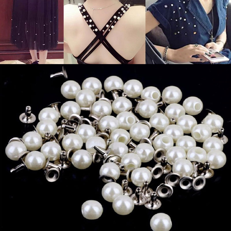 100 Sets White Pearls Rivets Studs Beads 6mm for DIY Crafts Leather Bag Shoes Clothes Decoration