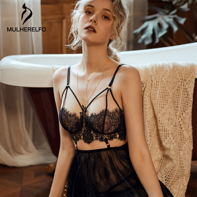 Sexy Lingerie Open Back White Lace Women Sleep Nightgown Coquettish Sheer Mesh Black Young Girl Lingerie Women Red Night Dress