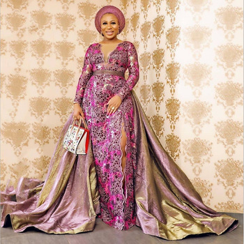 Purple African Lace Fabric Embroidered Nigerian Sequins Lace Fabric High Quality French Tulle Lace Fabric For Women Wedding