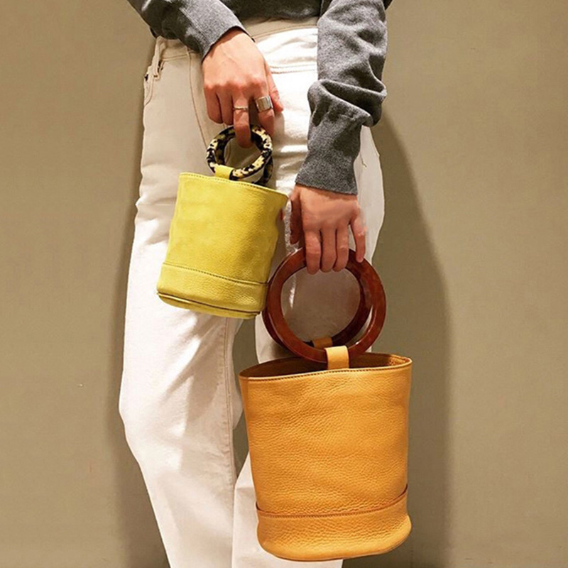 Fashion Acrylic Round Handle Buckets Bag For Women Designer Handbags Luxury Pu Ladies Large Capacity Totes Casual Small Purses