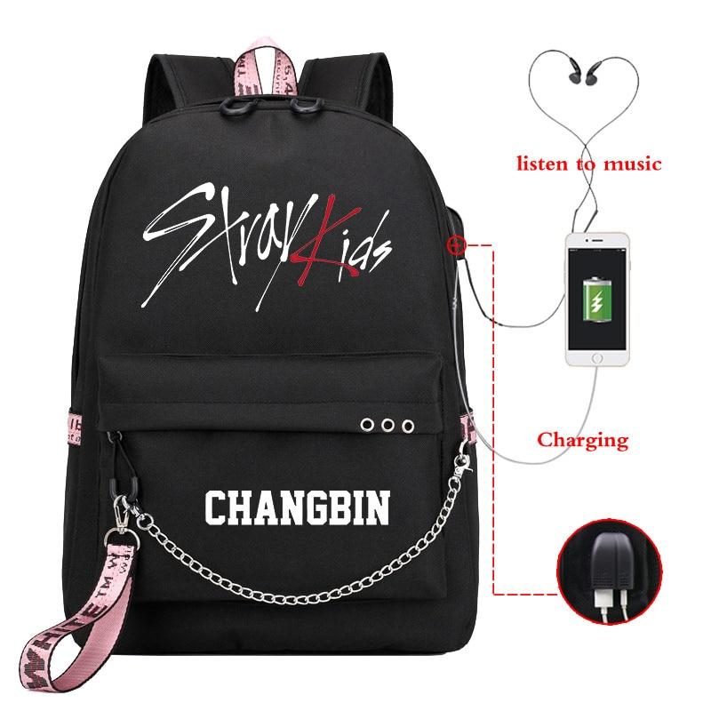 Mochila Kpop Stray Kids Backpack Women Backpacks School Bags for Teenage Girls Usb Charge Laptop Backpack Casual Travel Backpack