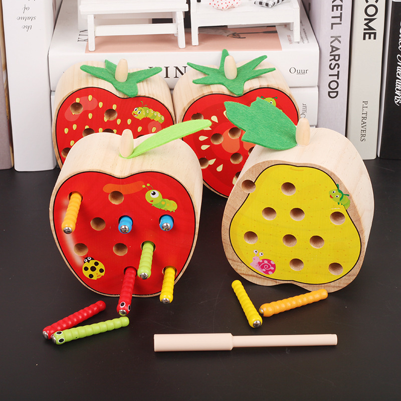 Baby Educational Montessori Wooden Toys Parent-child Interactive Magnetic Catch Worms Game Color Cognitive Math Toy For Children image