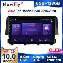 6G + 128G QLED أندرويد 10 سيارة راديو الصوت مشغل وسائط متعددة لتحديد المواقع والملاحة لهوندا سيفيك 2016 2017 2018 2019 4G LTE واي فاي Carplay