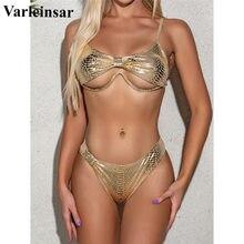 Female Swimsuit Bikini-Set High-Leg-Cut Two-Pieces Swim-V2395 Women Bronzing V-Bar New