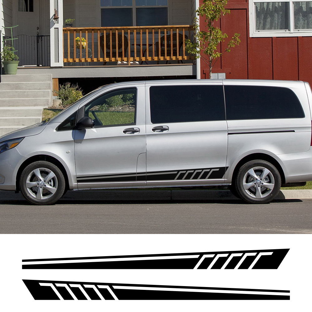 2Pcs For Mercedes V Class Vito Viano Car Side Door Stickers Auto DIY Vinyl Film Decals Automobile Styling Car Tuning Accessories image