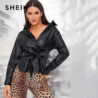 SHEIN Black Single Breasted Belted Faux Leather Jacket Coat Women Autumn Spring Split hem Solid Casual Motor Storm PU Jackets
