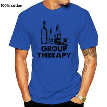 2019 Summer Cool Men Tee Shirt Group Therapy Shirt Funny Alcohol and Beer Tshirts Graphic Vodka Whiskey Rum Shirts Funny Tees