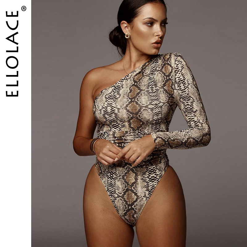 Ellolace Animal One Shoulder Sleeve Bodysuit Women Bodycon Rompers Long Sleeve Fitness Overalls Fashion Snake Print 2020 Bodys
