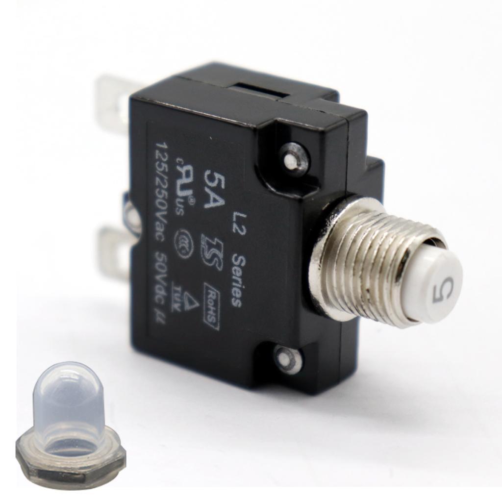 5A devre kesici aşırı yük koruyucu basmalı düğme anahtarı su geçirmez kapaklı sıfırlanabilir termal Panel montajlı AC125/250V DC50V