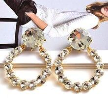 New Arrival metalowe okrągłe cyrkonie długie kolczyki wysokiej jakości kryształy spadek kolczyk biżuteria akcesoria dla kobiet