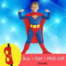 เด็กชายSuper Hero Superman Super Manชุดคอสเพลย์ฮาโลวีนPurim Carnival Dress Up B 0023