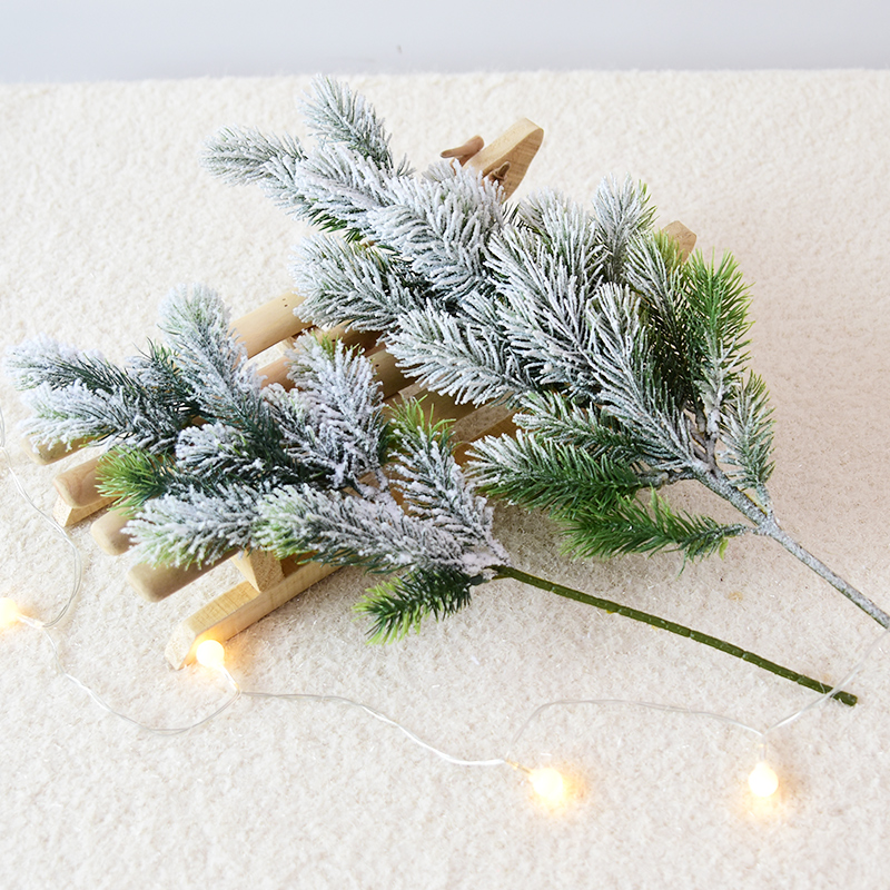 Artificial Cedar Snow Pine Branches Christmas Tree Wedding Decorations Xmas DIY Desktop Living Room Home Kitchen Faux Plants