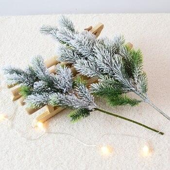 Artificial cedro nieve ramas de pino árbol de Navidad decoraciones de boda Navidad DIY escritorio sala de estar hogar cocina plantas falsas