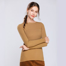 2019 winter new women's sweater round neck one shoulder striped cashmere sweater solid color wild bottoming sweater(China)