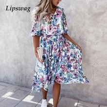 Summer Half Sleeve Floral Print Chiffon Dress Elegant Women V-Neck Button Midi Dress Ladies Fashion Irregular Slim Party Dresses