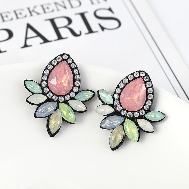 Meetvii Fashion Multi Colors Crystal Flower CZ Stud Earrings For Women Boho Rhinestone Colorful Crystal Earrings Femme Jewelry