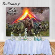 InMemory Jurassic World Party Dinosaur Background Customize Name Children backdrop for photography High quality Computer Print