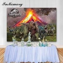 InMemory Jurassic World Partyพื้นหลังไดโนเสาร์ปรับแต่งชื่อเด็กฉากหลังสำหรับถ่ายภาพคอมพิวเตอร์คุณภาพสูงพิมพ์