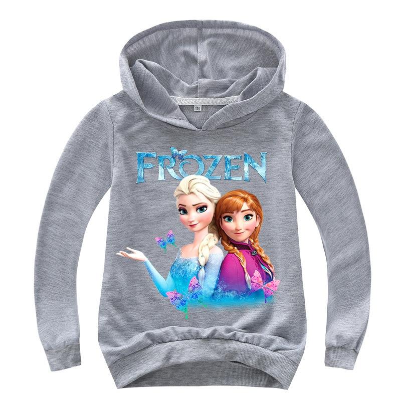New 2021 Kids Baby Boys Girls Toddlers Frozen 2 Elsa Anna printing Hoodies Cartoon Tracksuit Children Clothing Cute Sweatshirts 5