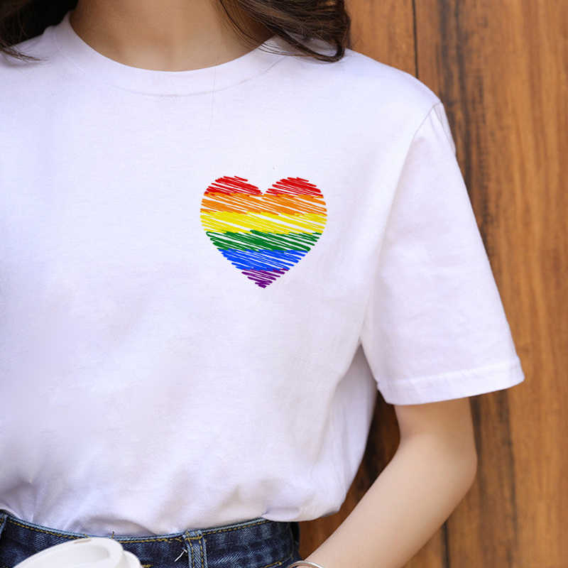 Lgbt Harajuku Rainbow Gay Pride T Shirt Women Lesbian Ullzang Cartoon T-shirt 90s Graphic Casual Tshirt Fashion Top Tees Female