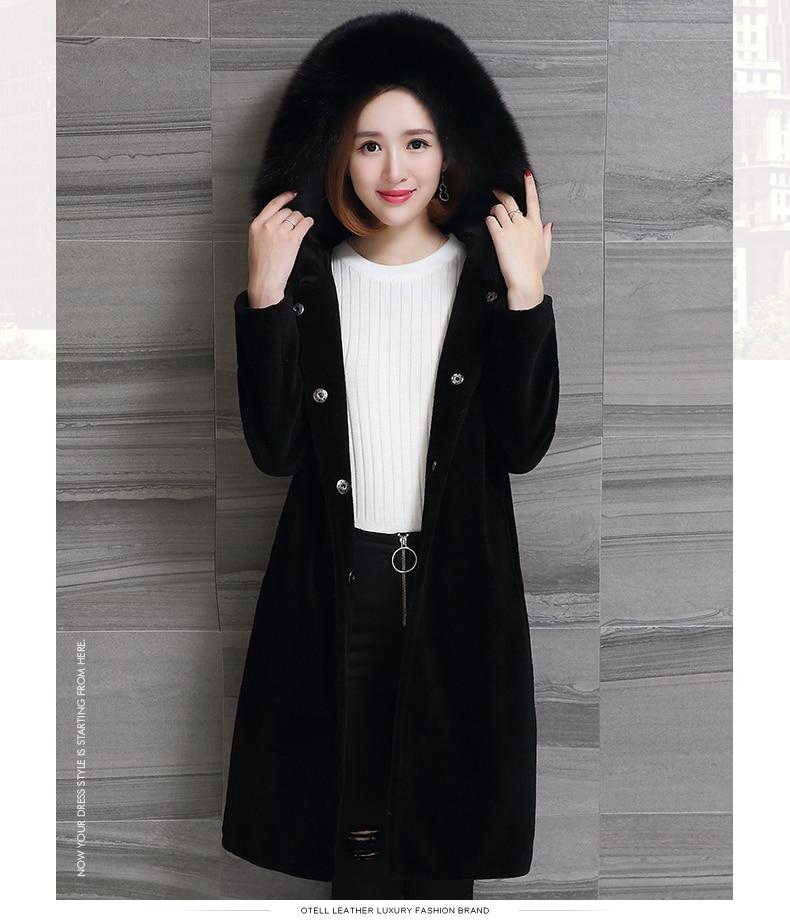 Winter 2020 Jacket Women Real Sheep Shearing Fur Coat Female Long Warm Jackets Fox Fur Hooded Plus Size 5XL 6XL OT1726 S