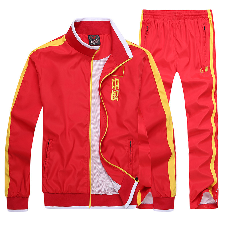 Spring And Autumn China National Team Sports Set Long Sleeve Men And Women School Uniform Running Casual Champion Receive Award