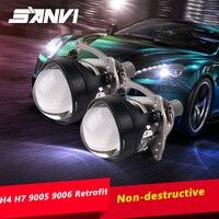 SANVI 2pcs V5 Mini 2.5 Inch Auto Bi LED Projector Lens Headlight 40W 5500K Car H4 H7 9005 9006 LEDProjector Headlight Retrofit