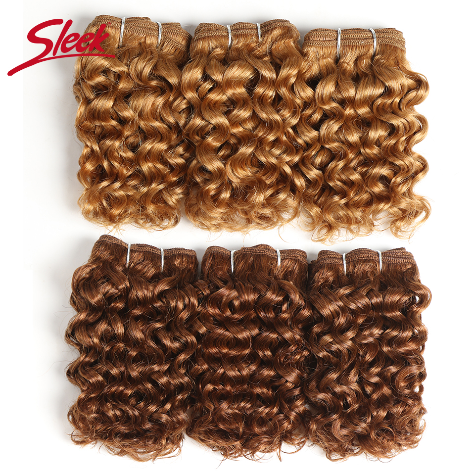 Sleek Hair Indian Remy Curly Human Hair Double Drawn Grade Blonde 27# 30# 33# Bundles Hair Extension 3Pcs Per/lot Free Shipping