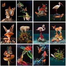 5D Diamond Painting Kit dark animal Flamingo fish deer Sea turtle mouse Full Square&Round embroidery mosaic Cross stitch Paint