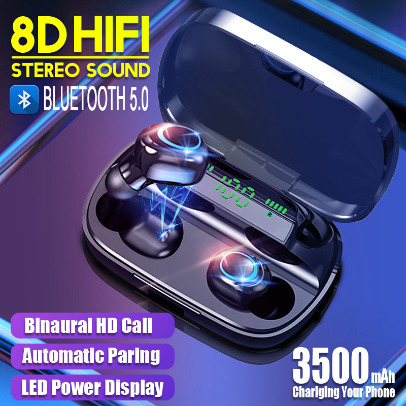 Wireless Earphone Bluetooth 5.0 TWS HIFI Sound Sports Gaming Earphone Waterproof Headset LED Power Display Stereo Earbuds