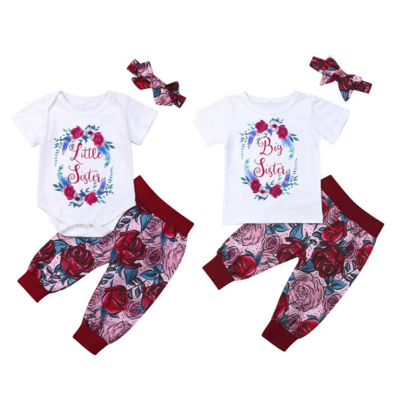 Big/Little Sister Matching Clothes Set Floral Outfits Summer Baby Girls Tops Romper Pants Costume Infant Clothes Clothing Set