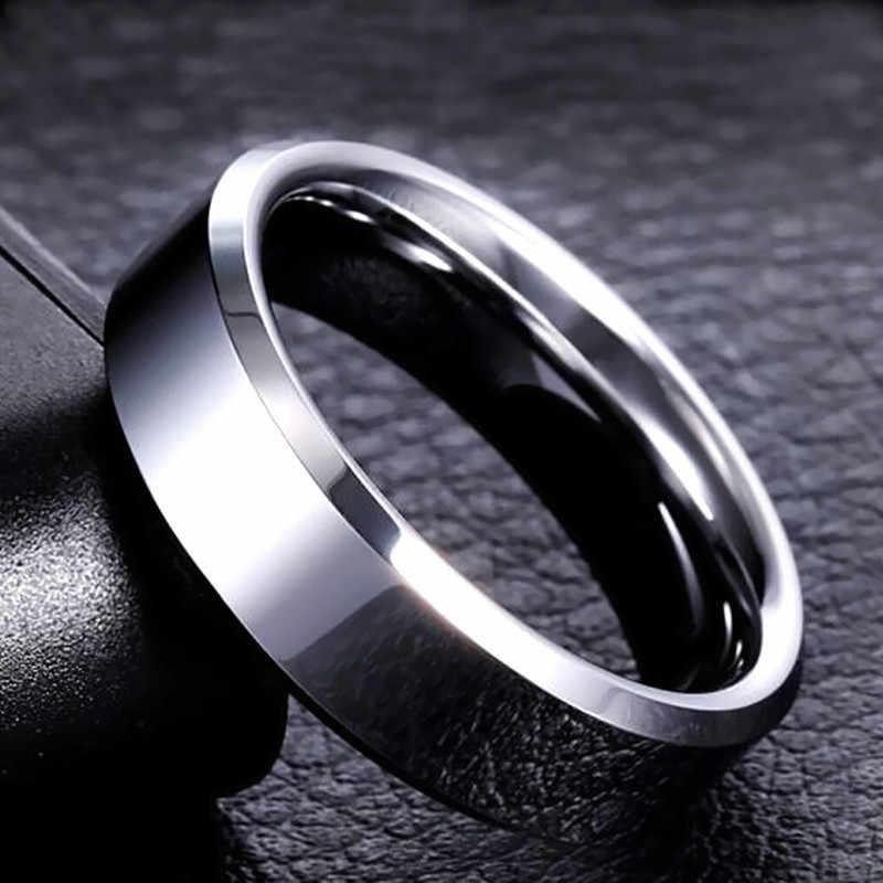 8 มม.ยี่ห้อผู้ชายสีดำแหวนไทเทเนียมสแตนเลสแหวนเงินแหวนคนรักคู่เครื่องประดับคุณภาพสูง
