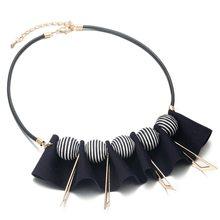 Массивное тканевое ожерелье для женщин колье с узором в виде