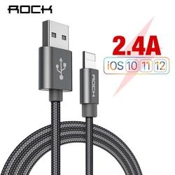 Cabo de rocha para iphone 100 cm 180 cm 300 cm 20 cm 2.4a carregador rápido iluminação cabos usb cabo de carregamento para iphone 10 8 7 6 5 mais ipad